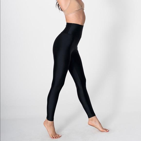 70c83e105a713a American Apparel Pants | Aa Black Nylon Tricot High Waist Legging ...